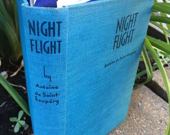 Night Flight (1942) - Handsewn Repurposed Vintage Hardcover Journal / Travel Notebook