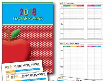 Printable Teacher Planner 2018 Apple Theme