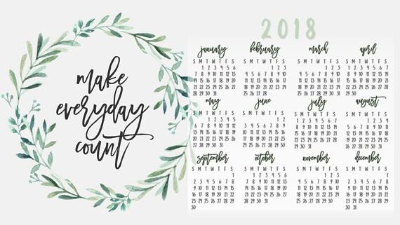 Calendar Desktop Wallpaper 2018 Calendar Wallpaper Laurel Etsy