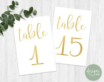Printable Table Number 1-25 | Wedding Table Numbers | Digital Wedding Table Number | Gold Table Numbers | Instant Download