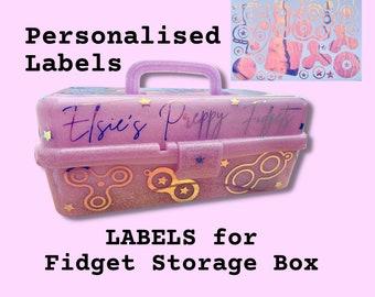 LABELS For Fidget Toys Storage Box,  Decoration, Vinyl Decal, Sticker, Label