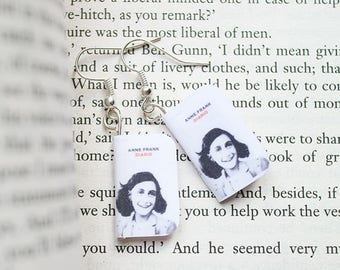 Anna Frank miniature book earrings and necklace