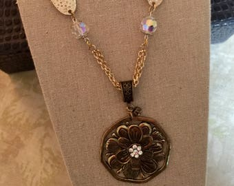 Boho Chic Metal Flower Sculpture Necklace/Repurposed Vintage Flower Pendant Necklace/Vintage to New Jewelry/Moms Day Gift/Unique Necklace