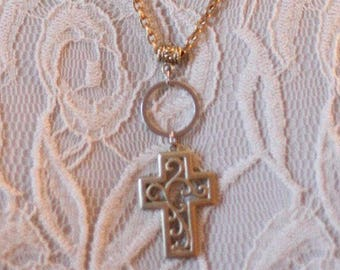 Scrollwork Cross Necklace/Vintage Cross Necklace/Vintage Recreation/Religious Cross Necklace/Gift For Mom/One of a Kind