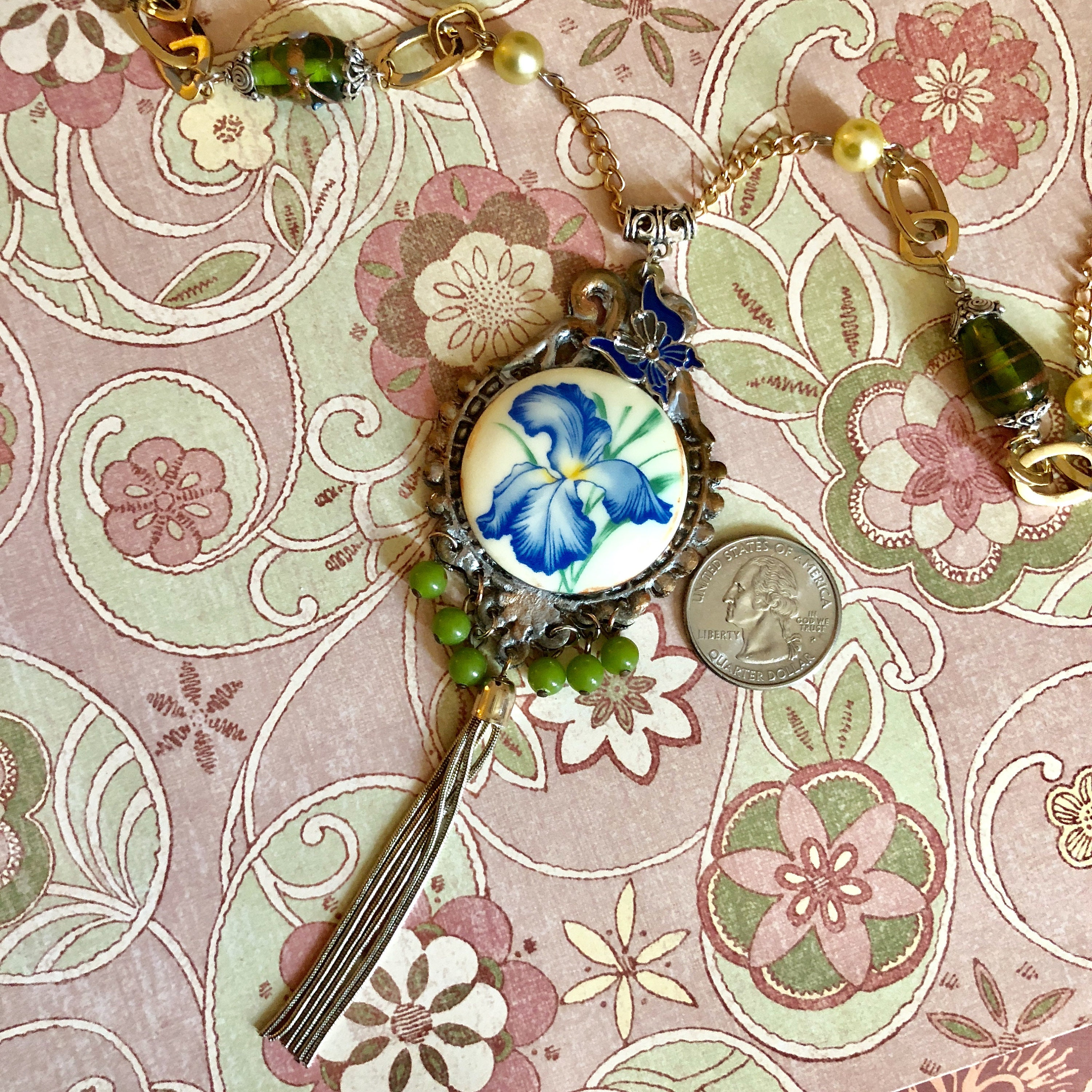 Tassel And Beaded Necklaceboho Style Iris Flower Necklace With Blue