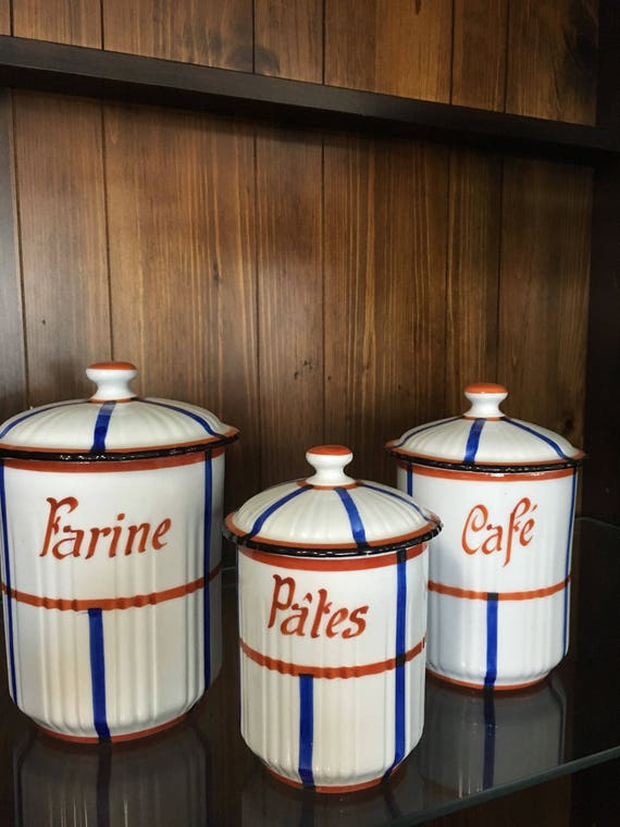 Vintage Kitchen Canisters Ceramic Canisters Set Of Three Kitchen Canisters Vintage Kitchen Decor
