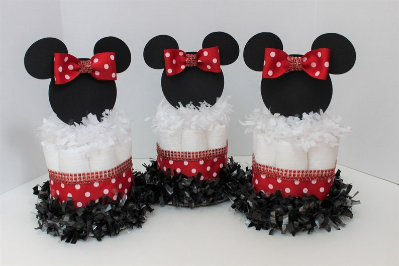 Minnie Mouse Diaper Cakes Minnie Mouse Baby Shower Decor Etsy