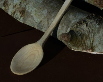 Long-Handled Teaspoon, Hand-Carved Ash Wood - 9 Inches - Hand Made, Sustainable Sourced