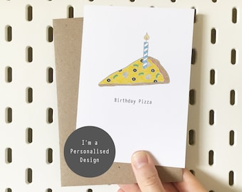 Personalised Pizza Birthday Card