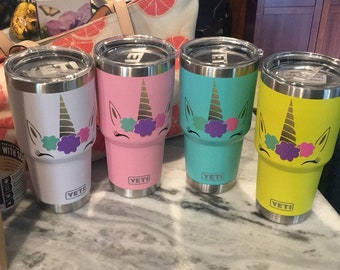 CUSTOM Unicorn Yeti pink yellow blue white 30oz Yeti rambler SO CUTE
