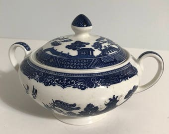 Vintage RARE Willow Blue Sugar Bowl with Lid Made in England !