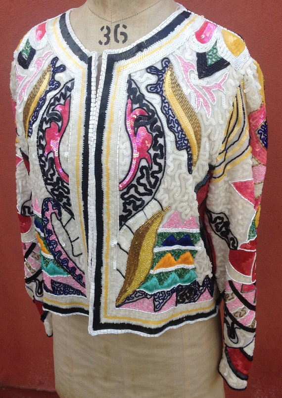 Frank Usher sequined evening jacket 1980s size Med