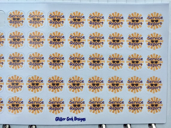 JW planner stickers, service report stickers, glossy, kiss cut
