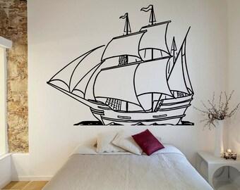 Maritime Ship Vinyl Sticker Ship Wall Art Made in the USA Sea Bedroom Decor O61 Boat Sticker Ship Decal Vinyl Decal Sailboat Wall Art
