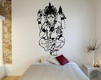 eba4497cc4 Ganesha sticker, For meditation at home, Ganesha DekorDecal, India, Vinyl,  Sticker, Mural, Wall Decal, Home, Bedroom, Dorm Decor, Room GF050
