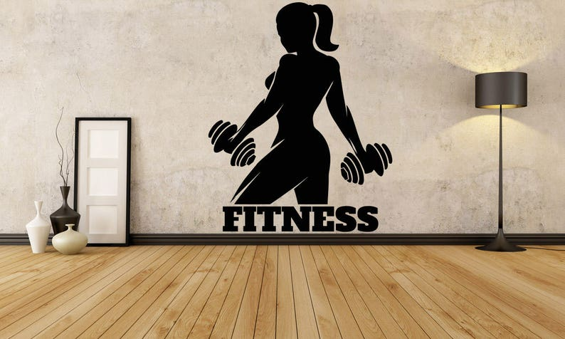 Fitness girl woman logo gym sport barbell workout motivation etsy
