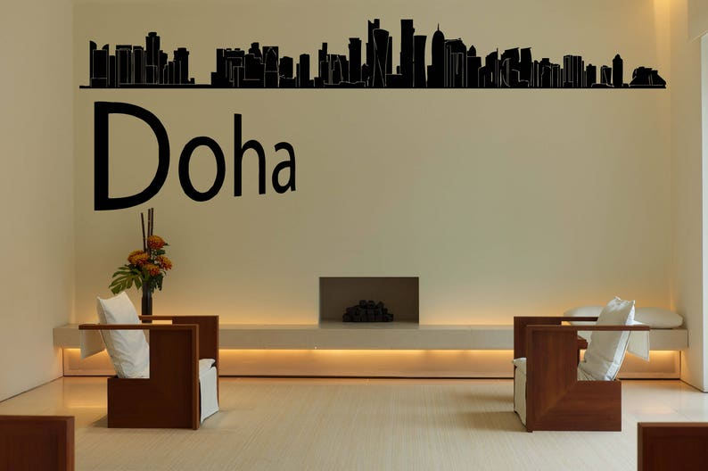 city skyline decal doha qatar vinyl sticker mural wall | etsy