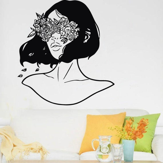 Sticker femme, Abstraction Decal, Abstraction Decor, Home Decor, vinyle, autocollant Bar, murale, Art mural, sur mesure, chambre Decor GF111