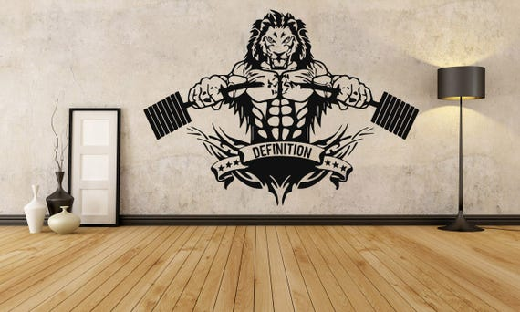 Lion Crossfit Fitness Club Gym Logo Sport Barbell Workout