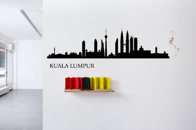 Kuala Lumpur City Skyline Decal Malaysia Wall Art Room NA748 Mural Bedroom Home Decor Sticker Dorm Decor Custom Wall Decal Vinyl