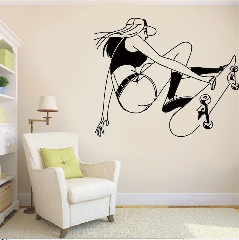 Snowboard Skateboard vinyl art Ballerina,children room,Active GA051 Skate sticker,Dancer wall art Skate vinyl decal