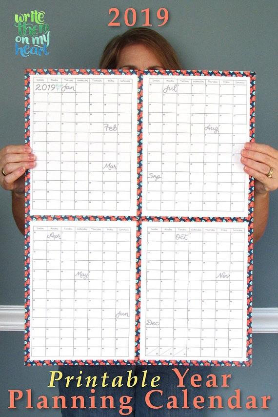 2019 printable year planning calendar 2019 wall planner 2019 etsy