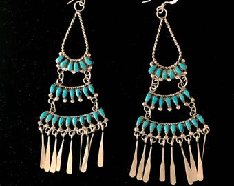 0e1f29a4b Zuni chandelier earrings, sterling silver and turquoise, by M. Dishta