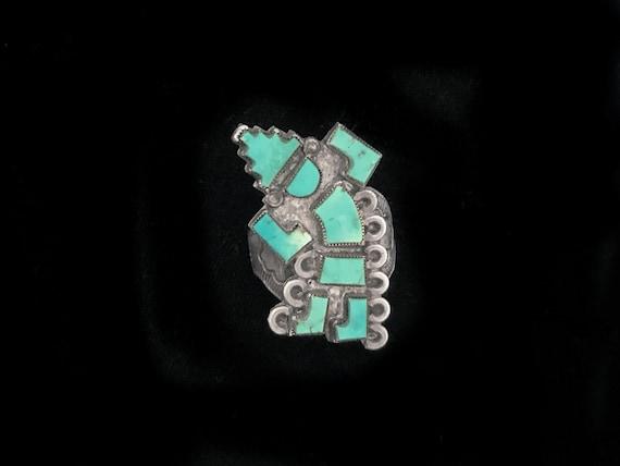 Zuni inlay statement ring size 8, Sleeping Beauty