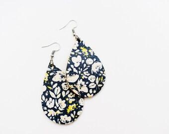 Cork Mini Teardrop Earrings in Blue Floral Blue Floral Cork Leather Earrings