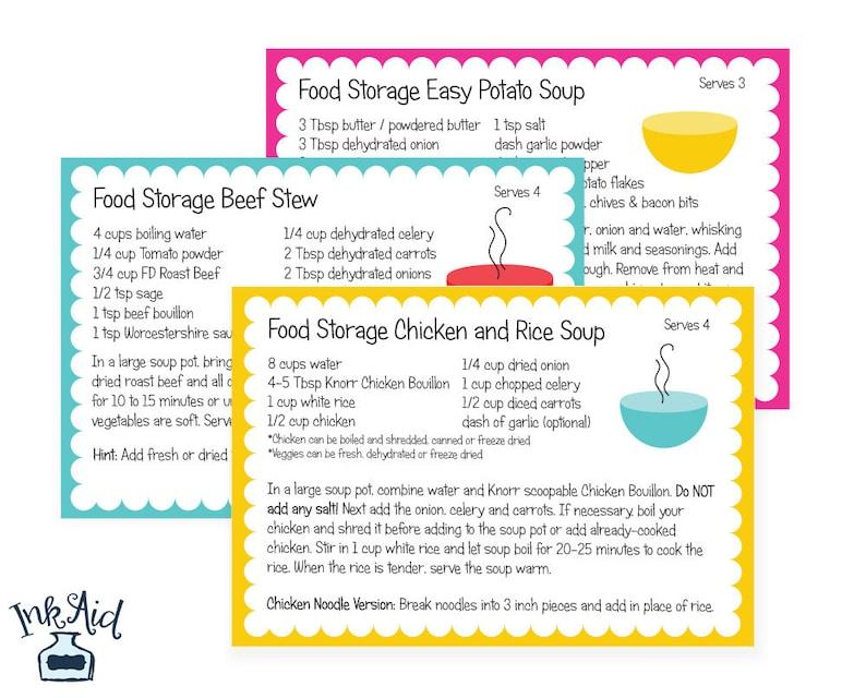 SOUP RECIPES | Food Storage Cook Book 4x6 Recipe Cards | Printable Digital  Download PDF | 3 Month Supply Prepper Preparedness