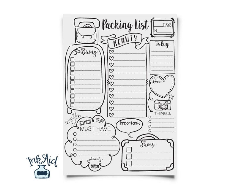 graphic regarding Ski Trip Packing List Printable identified as DOODLE Drive Packing Checklist PRINTABLE Total Site Listing Edit Your Individual PDF History Customized Holiday vacation Planner Gals Street Family vacation Weekend Vacay
