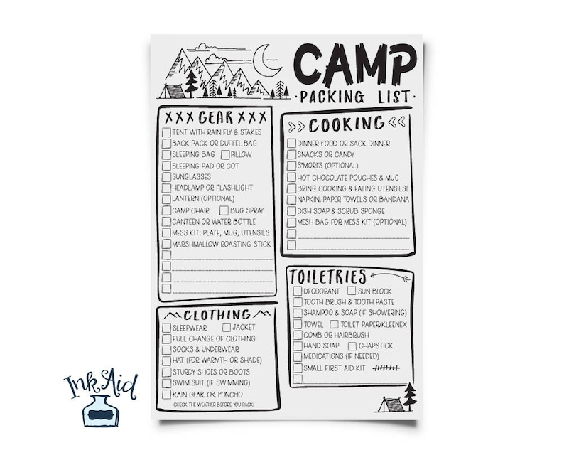 picture about Camping Food List Printable titled CAMP Packing Checklist PRINTABLE Complete Web page Edit Your Individual PDF Record Boy Cub Female Scout Den Chief Tenting Birthday Occasion Generate Planner