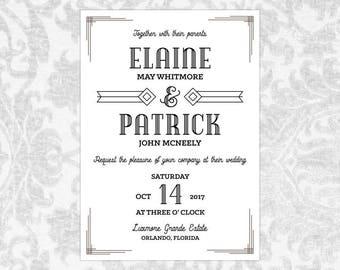 Hochzeit Einladung Vorlage Word Vintage Art Deco   Buchanan