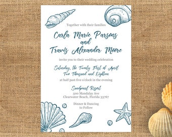 beach wedding invitation template etsy