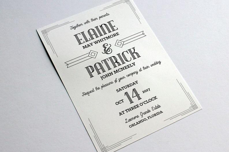Hochzeit Einladung Word Vorlage Word Vintage Art-Deco