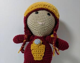 Iron Man Weebee Doll, crocheted OOAK doll
