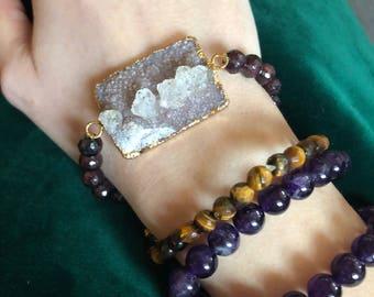 Druzy and Garnet strect bracelet