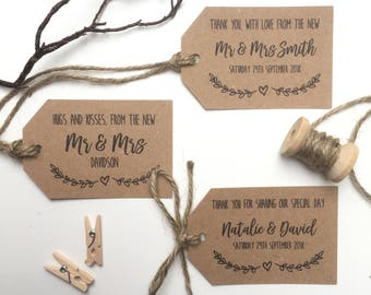 10 x Rustic Wedding Favour Tags | Wedding Tags | Rustic Tags | Personalised Tags | Gift Tags | Evie Range