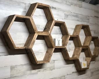Hexagon shelf   Honeycomb Shelves   Hexagon shelves   Geometric shelf   Wooden shelf