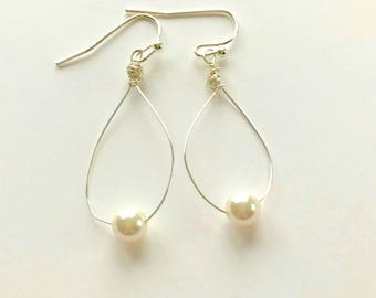 Winter White Pearl Earrings on Silver Wire, Hand Wire Wrapped, Minimalist Style