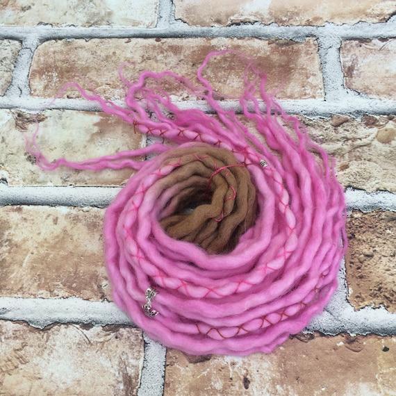 Dreadlocks sur mesure - marron & Rose, pleine tête de Dreadlocks DE laine, choisissez votre longueur, quantité, Dreads, Festival, Hippie, Boho, Gypsy