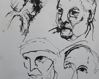 Ink Sketch portrait Hugo Claus interview 1989 nr 3