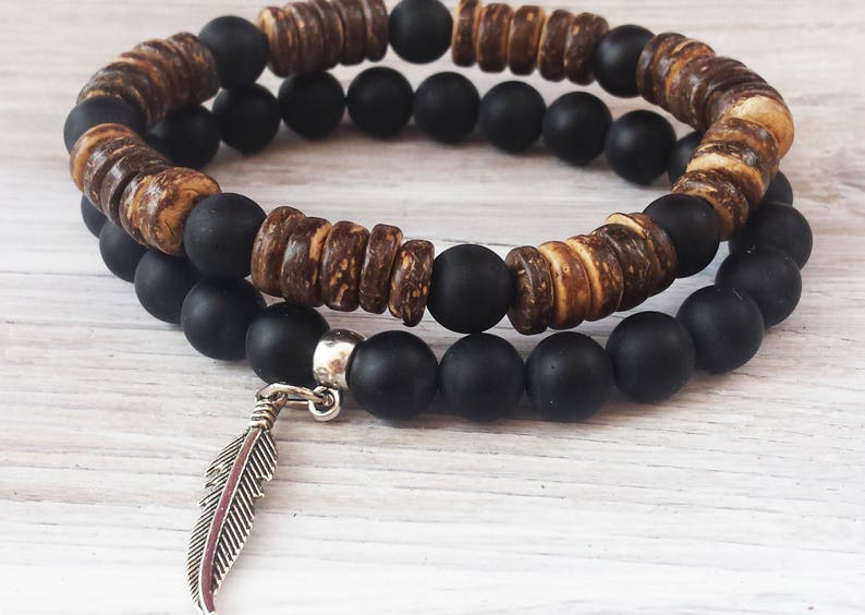 9eb9b19e2ecd Mens Bracelet Stack Coco Wood Bead Bracelets Surfer Bracelets