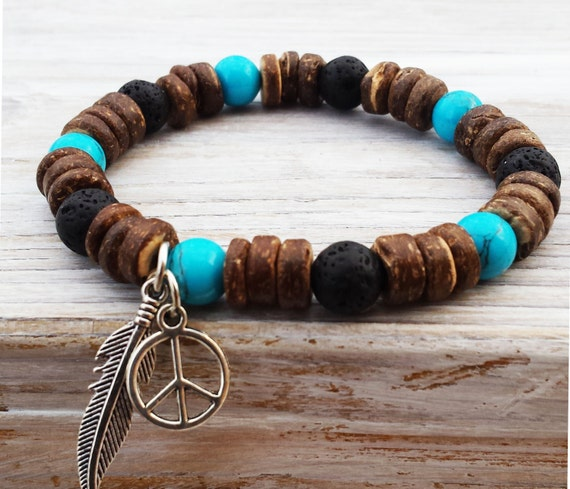acab95a98015 Boho Men Bracelets Turquoise Bracelet Coco Wood Bead Stretch