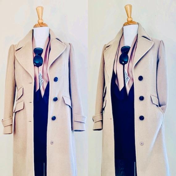 Vintage coat 80s coat Camel coat 1980s coat Long C