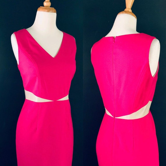 Vintage dress Hot pink dress Pink dress Summer dre