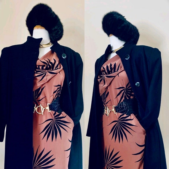 80s coat Vintage coat 1980s coat 40s coat Long coa