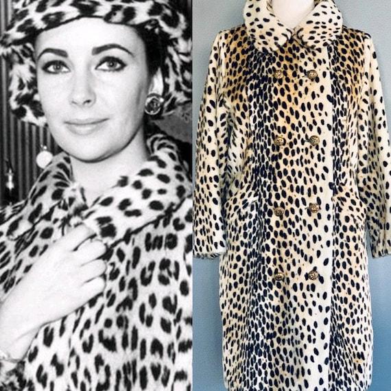 60s Fur coat/ 60s coat/Leopard coat vintage/Faux f