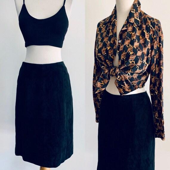 80s skirt Vintage skirt Black Suede skirt  1980s s