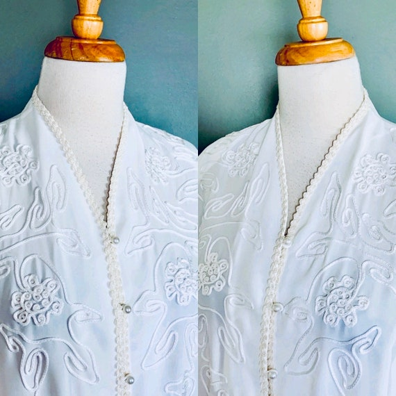 Vintage blouse 80s blouse 1980s blouse Embroidery